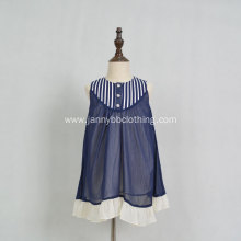 Wholesale navy chiffon cotton linen fabric stripe dress